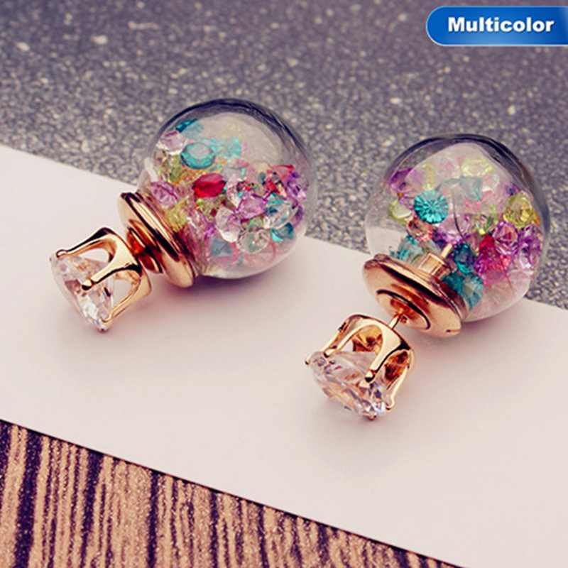 Korean Cute Crystal Ball Small Doubled Side Earings Fashion Glass Pearl Stud Earrings For Women Jewelry Brinco Boucle D'oreille