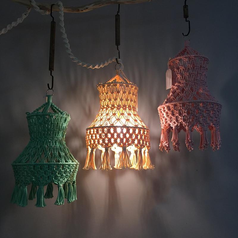 Fondo artesanía Decoración marroquí tapiz Macrame Bohemia decoraciones pared lámpara colgante Ybygf67