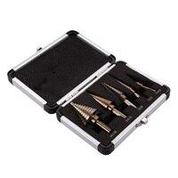 5pcs Set HSS Cobalt Multiple Hole 50 Sizes STEP DRILL BIT SET W Aluminum Case Free