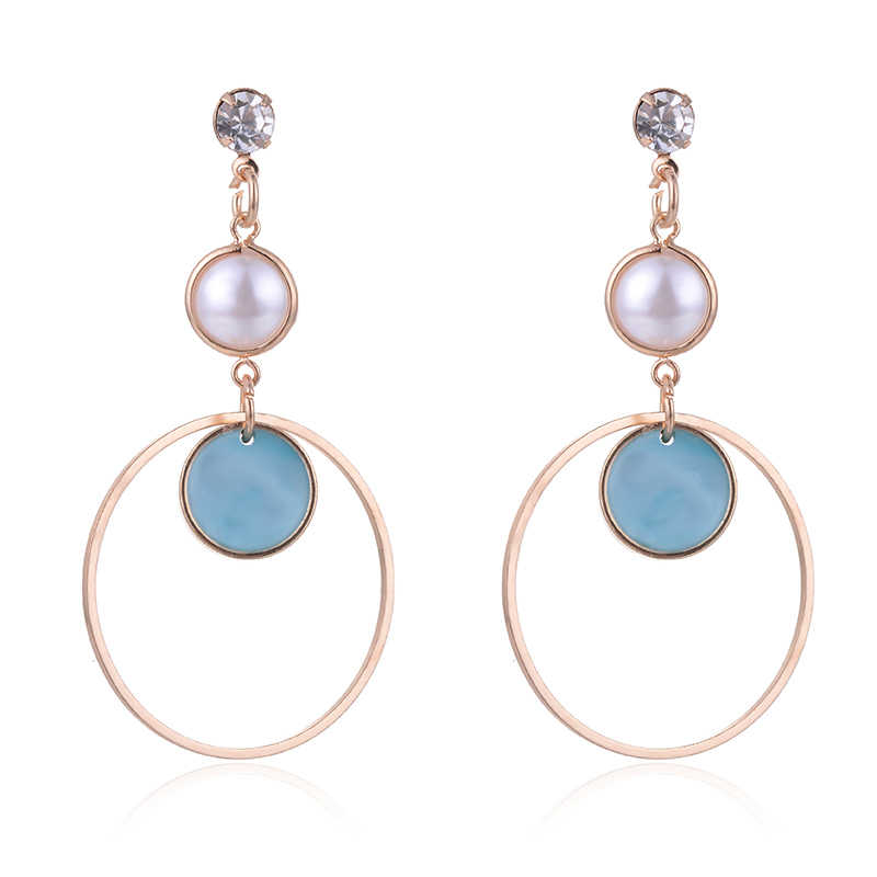 SUKI Simple Women Stud Earrings Alloy Multilayer Double Circles Pendant Simulation Pearl Charms Ladies Earring Jewelry Gifts