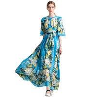 New Arrival Charming Blue Printed Floor-length Long Dress 171011YL01