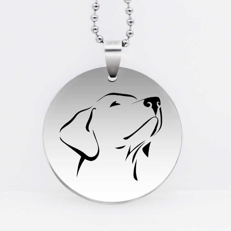 Stainless Steel Dog Head Pendant Necklace Lovely Labrador Retriever Necklace Animal Jewelry Gift Drop Shipping YLQ6131