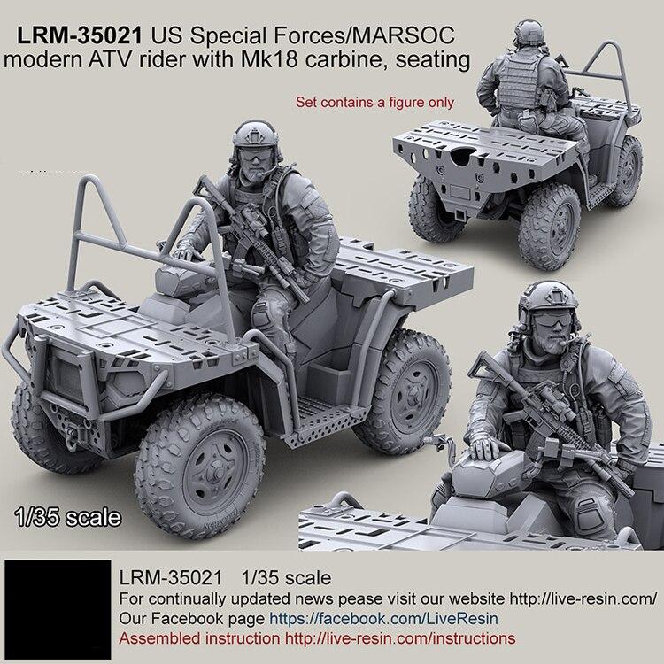 1/35 resina modelo kit EUA Forças Especiais moderna ATV rider com Mk18 carabina (apenas um soldado) sem pintura 245G