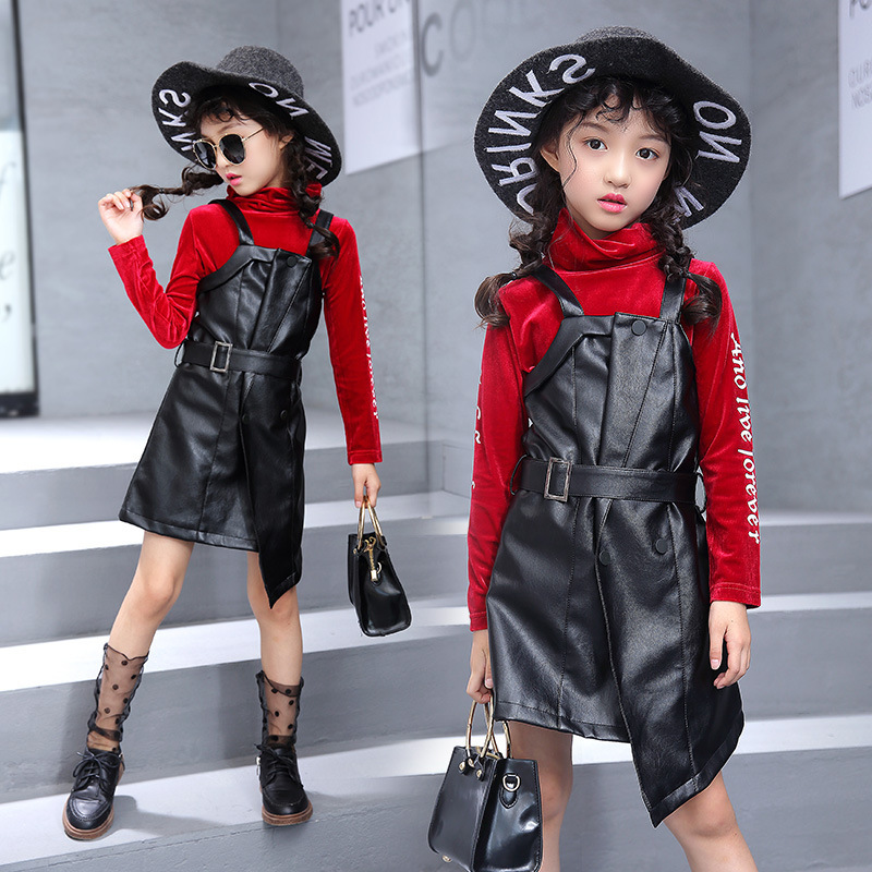 Kids Clothes Tracksuit Girls Clothes Sweater PU Leather Strap Princess Dress Suit Children Clothing Teenage Girls Clothing Set цены онлайн