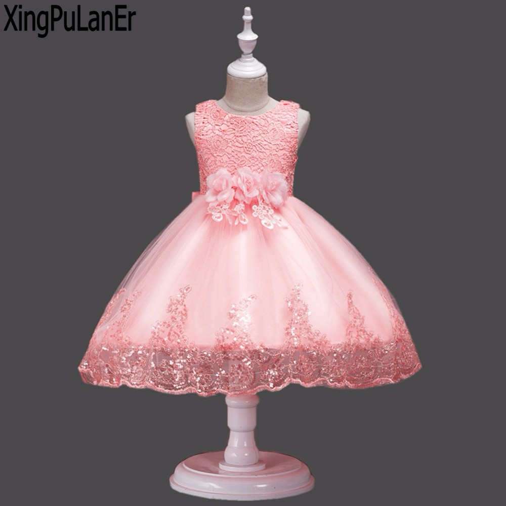 2018 Cute O Neck Sleeveless   Flowers     Girls     Dresses     Flowers   Lace Appliques for First Communion Lace Ball Gown   Girls   Evening Gowns