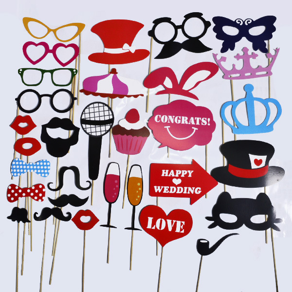 Hot Funny Whimsy 31pcs Favor Diy Booth Props Mustache Wedding