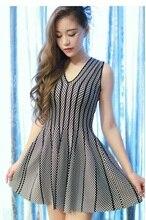 V collar Pleated dress/Plaid stripes slim dress/women knitted dresses/wholesale beading dresses