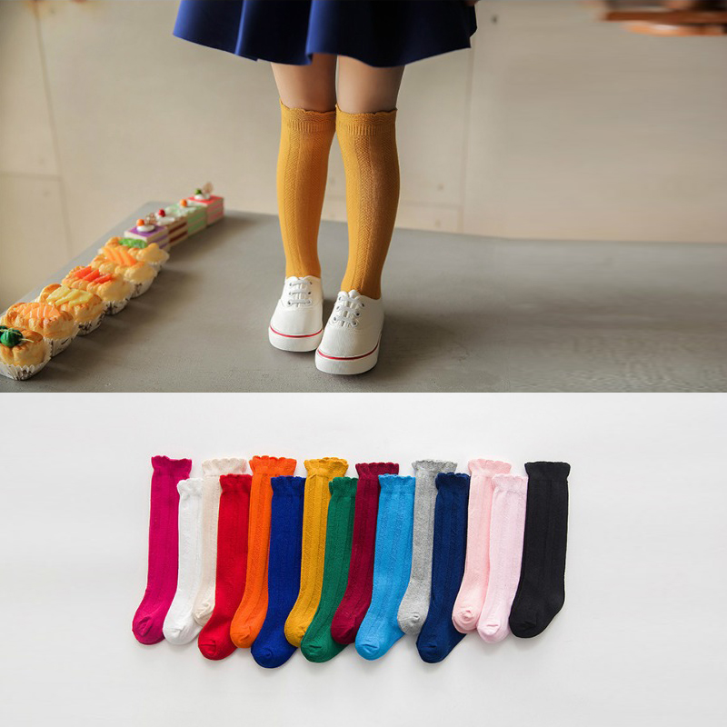 1 Pair Spring  Autumn Winter Cotton Lace Double Needle Children Breathable Socks Solid Baby Girls Knee Socks School