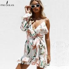 Pinky Is Black 2018 V neck print bohemian beach dress Irregular ruffles summer women Bandage elegant short vestidos