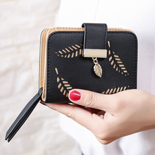 2018 design women's purse zipper Leather ladies wallet women luxury brand Small female wallet Hollow Leaves for credit cards(China)
