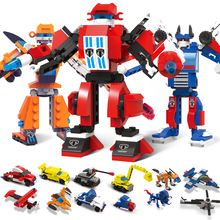 WMX  Super Hero Robot Destroyer Building Blocks Bricks Sets Car Airplane Figures Christmas Gift for Kids