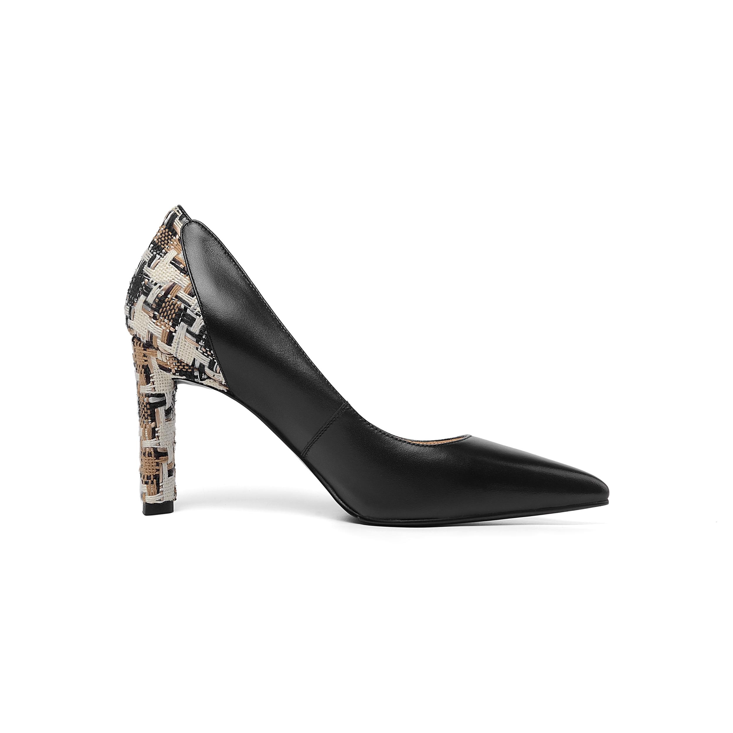 Oficina Zapatos Mujeres Sales Primavera Del Pie Gruesos 2019 Beige Tacones Dama Cuero negro Otoño Las De Pu Patente Genuino Dedo Puntiagudo Señoras UTqXBU