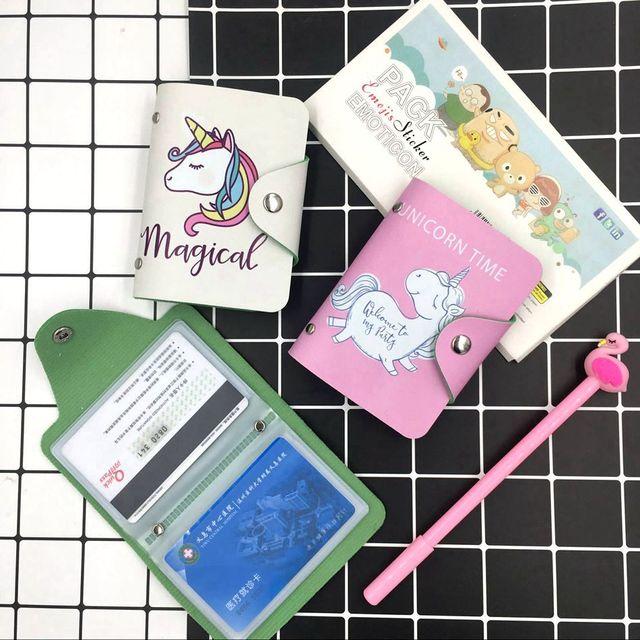 Cute Cartoon Unicorn 24 Bits Card ID Holders Case PU Leather Function Business Card Holder Women Credit Passport Bag Card Wallet