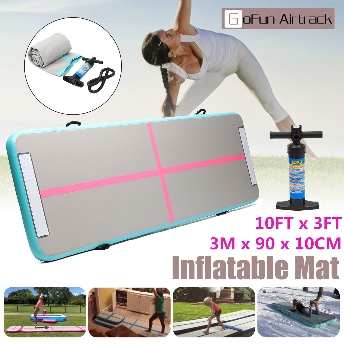 GoFun 300x90x10cm AirTrack Inflatable Air Track Tumbling Floor Home Gymnastics Yoga Mat GYM with Manual pump new arrival yoga mats 0 9 3m inflatable tumble track trampoline air track floor home gym gymnastics inflatable air tumbling mat