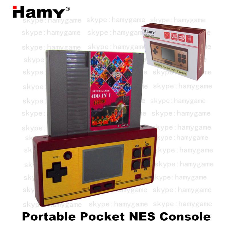 Prix pour Haute qualité date Hamy rétro 8bit NES jeu Portable de poche / jeu 72 Pins cartouche de jeu / AV out / 2.8 polegada LCD / US EURO NES carte