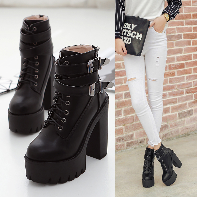 2018 Autumn Fashion Women Boots High Heels Platform Buckle Lace Up Leather Short Booties Black Ladies Shoes Good Quality