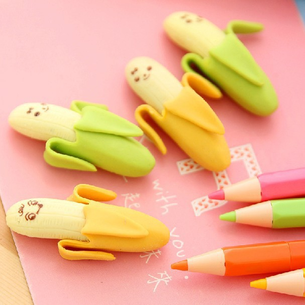 2 pcs/lot Lovely Cute Banana Fruit Style Rubber Pencil Eraser Students Stationery New School Supplies