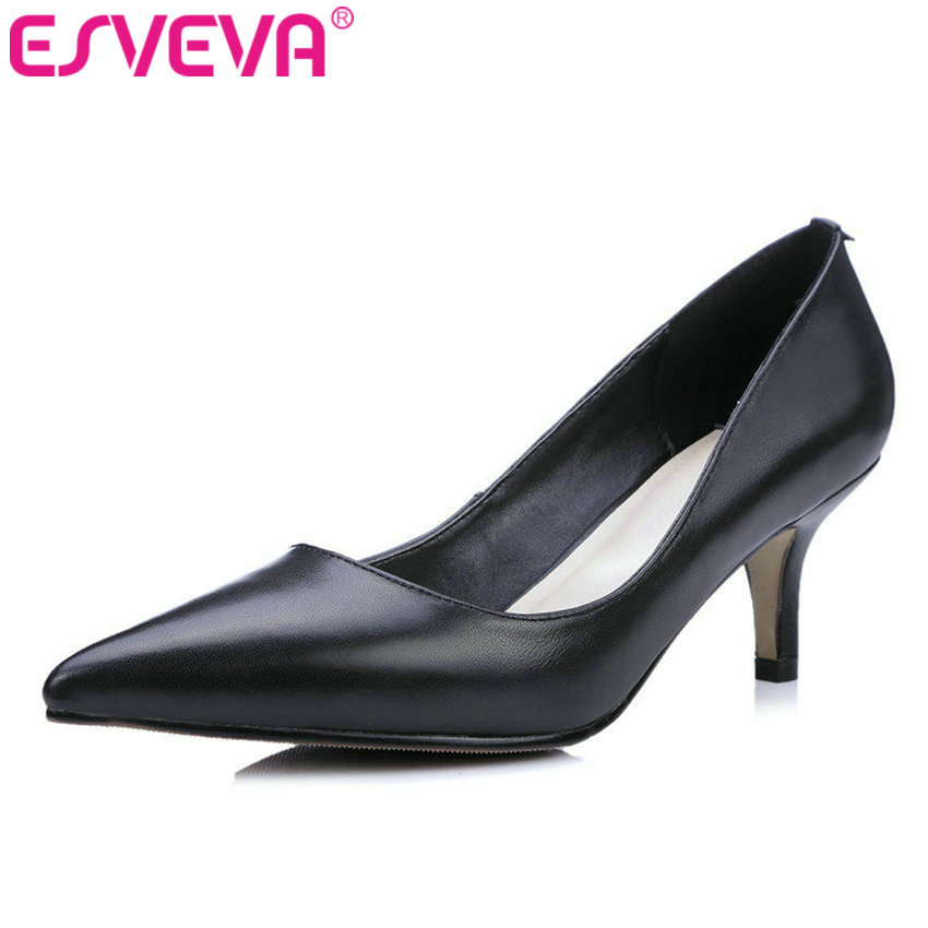 ESVEVA 2017 Black Red Genuine Leather Pumps Thin Heel Women Pumps High Heels Pointed Toe Shoes Woman Wedding Shoes Size 34-39 bowknot pointed toe women pumps flock leather woman thin high heels wedding shoes 2017 new fashion shoes plus size 41 42