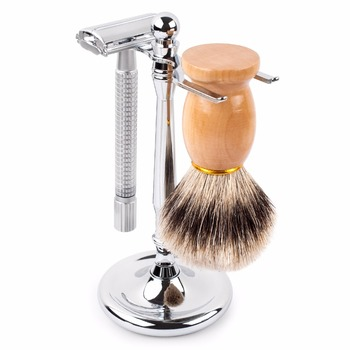 QSHAVE Men Razor Holder Stainless Steel Shaving Brush Stand Classic Safety Razor Stand Holder with 4 Prong 4