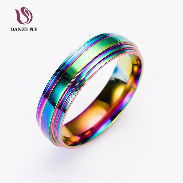 Danze Fashion Rainbow Colorful Stainless Steel Rings For Man Simple Men S Wedding Bands Clic Boyfriend Father