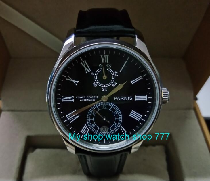 PARNIS 43mm black dial Automatic Self-Wind movement power reserve men's watch Mechanical watches wholesale GL17a sapphire 2017 new fashion parnis 45mm black dial st2557 automatic self wind movement men s watch gmt mechanical watches 291