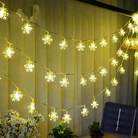 Solar String Lights 30 LED Snowflake Waterproof Solar Christmas Fairy Lights For Outdoor Garden Party Holiday Xmas Decorations