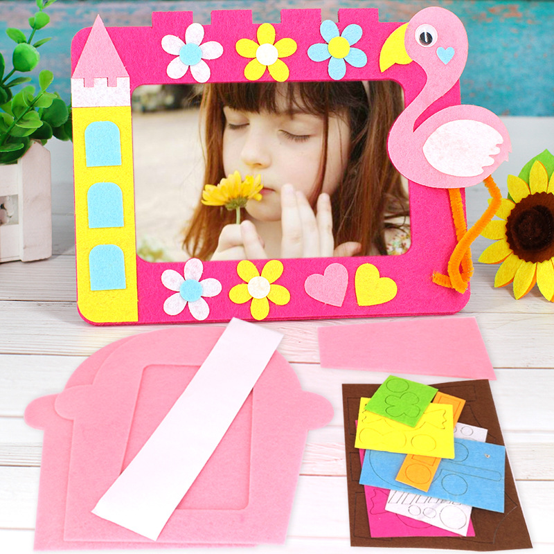 Diy Kids Craft Kits 6 Inch Felt Photo Frame Kindergarten Handmade Decoration Toys For Children Animal Lion Bird Giraffe Pattern