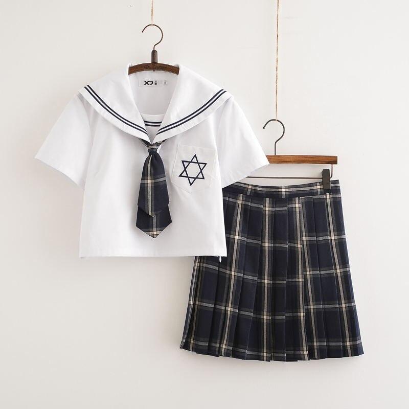 Mode d'été uniformes japonais marine marin costume pour les femmes Kansai étudiants à manches courtes Costumes uniforme scolaire pour les filles