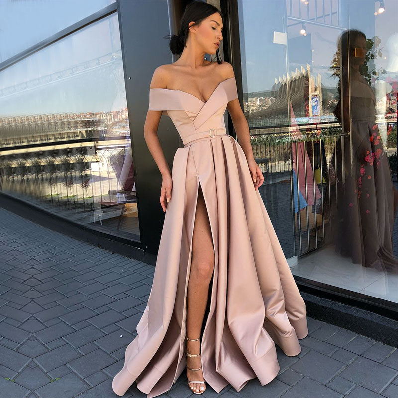Long Evening Dress 2019 Real Sample Cap Sleeve V-neck Sexy High Slit Arabic Champagne Formal Evening Gowns robe de soiree