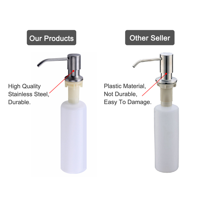 MOSEKO Bathroom Kitchen Soap Dispenser Stainless Steel Head 4