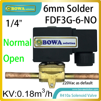 "1/4"" normal open solenoid valve with solder connections is installed in suction or hot liquid defrost pipelines in refrigeration"