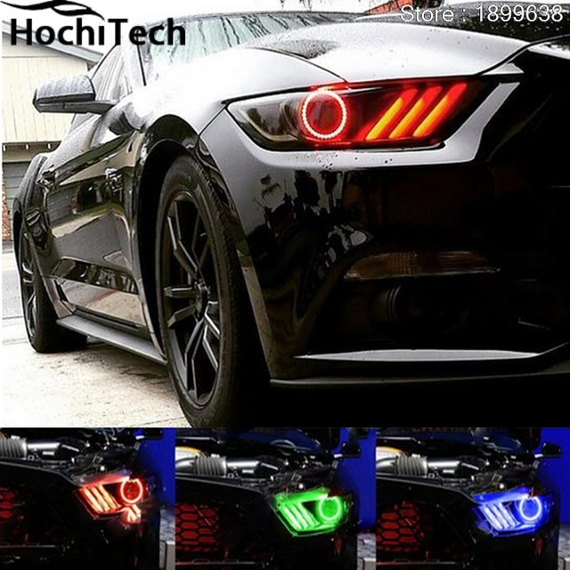 For Ford Mustang 2015 2016 2017 Rgb Led Headlight Rings Halo Angel