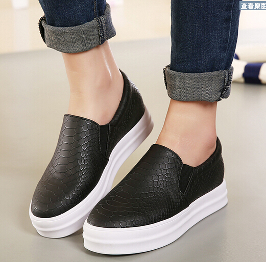 5a3065d93 Spring /autumn Women genuine leather Platform shoes Slip On Snake skin  Flats Casual Loafers Round Toe Moccasins Shoes woman