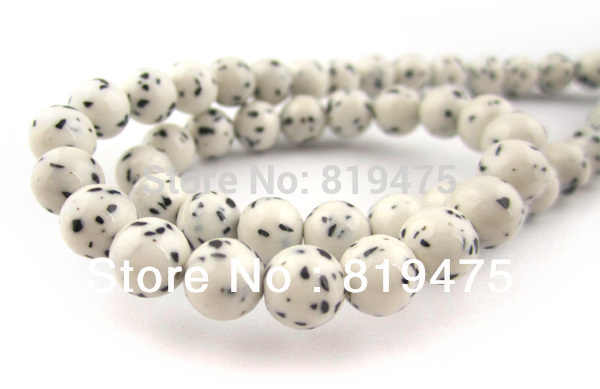 4 6 8 10 millimetri Sintetico Stonebeads Rotonda Bodhi Stile per la produzione di gioielli di colore Bianco Con puntini Neri