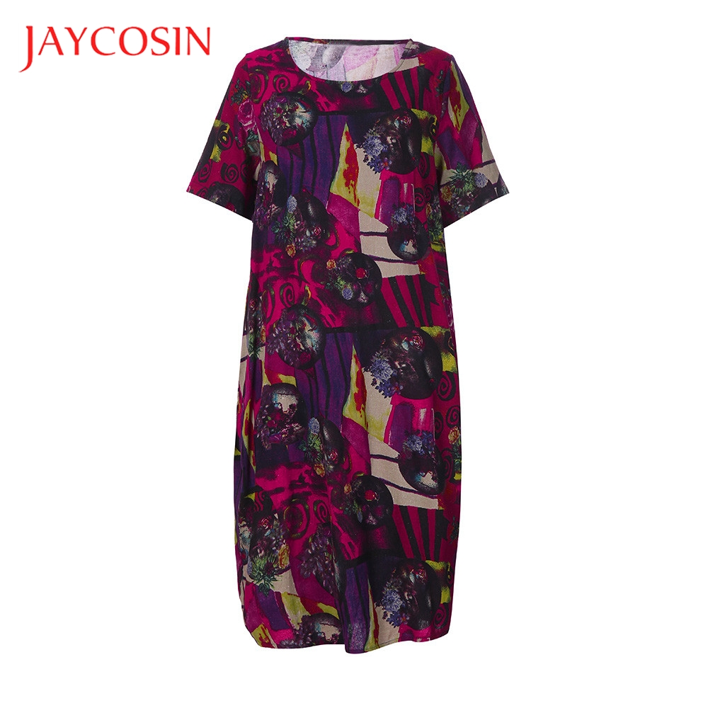 JAYCOSIN Plus Size Dress Tunic Italian Lagenlook Summer Womens Tribal Baggy Dress Summer Season Casual Occasion Polyester