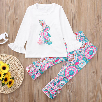 JOYINPARTY Girls Spring Clothes Set Easter Bunny T-Shirts Colorful Vintage Ruffle Pant Kids Clothing Boutique Cotton Outfits Set 1