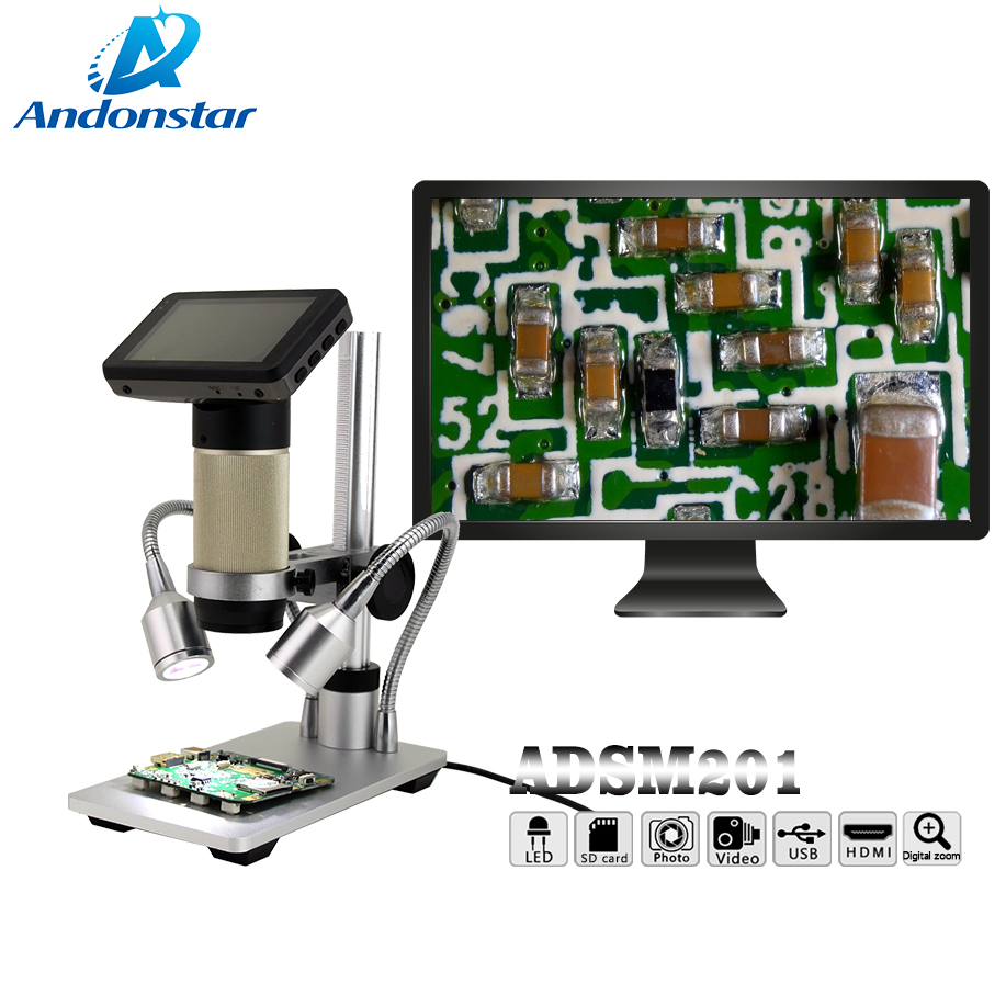 Andonstar Digital USB HDMI Microscope ADSM201 3 inch Built in Display High Object Distance THT SMD
