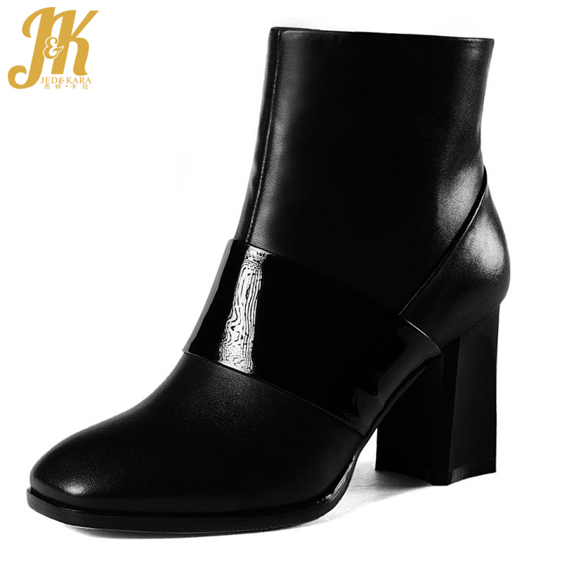 Size 34-43 High Quality Genuine Leather Square Toe Short Boots Add Fur Patchwork Thick High Heels Fall Winter Shoes Woman wetkiss big size 34 43 fashion lace up platform knee boots add fur retro thick high heels skid proof fall winter shoes woman