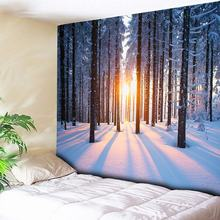 Hippie Boho Decor Tapestry Wall Hanging Sunshine Forest Snow Scenery Christmas Decorative Wall Carpets Couch Blanket 200cmx150cm цена 2017