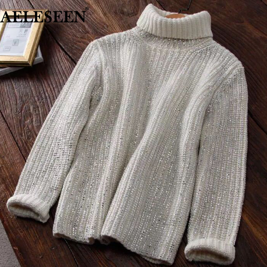 AELESEEN High Quality Fashion 2018 Designer Sweater Women's Long Sleeve Turtlenack Luxurious Diamonds Beaded Pullover Sweater