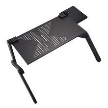 Portable Foldable Adjustable Laptop Desk Computer Table Stand Tray For Sofa Bed Black цена
