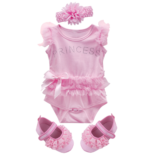 029e7c8e84 Newborn Summer Bodysuit For Baby Girl Princess Jumpsuit With Headband And  Shoes Infant Lace Body Ropa Bebe Baptism Birthday Gift