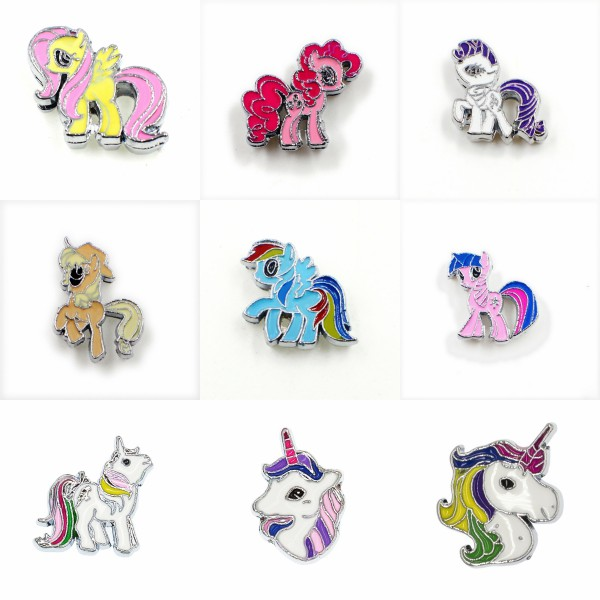10pcs/Lot 8mm Mix Styles Unicorn Horse Slide Charms Fit Pet Collar Wristbands Belts Bracelets DIY Jewelry Making