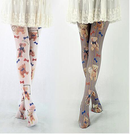 Harajuku Estilo Lindo Oso de Peluche de Las Mujeres Impreso Pantimedias Envío Libre 3 Colores