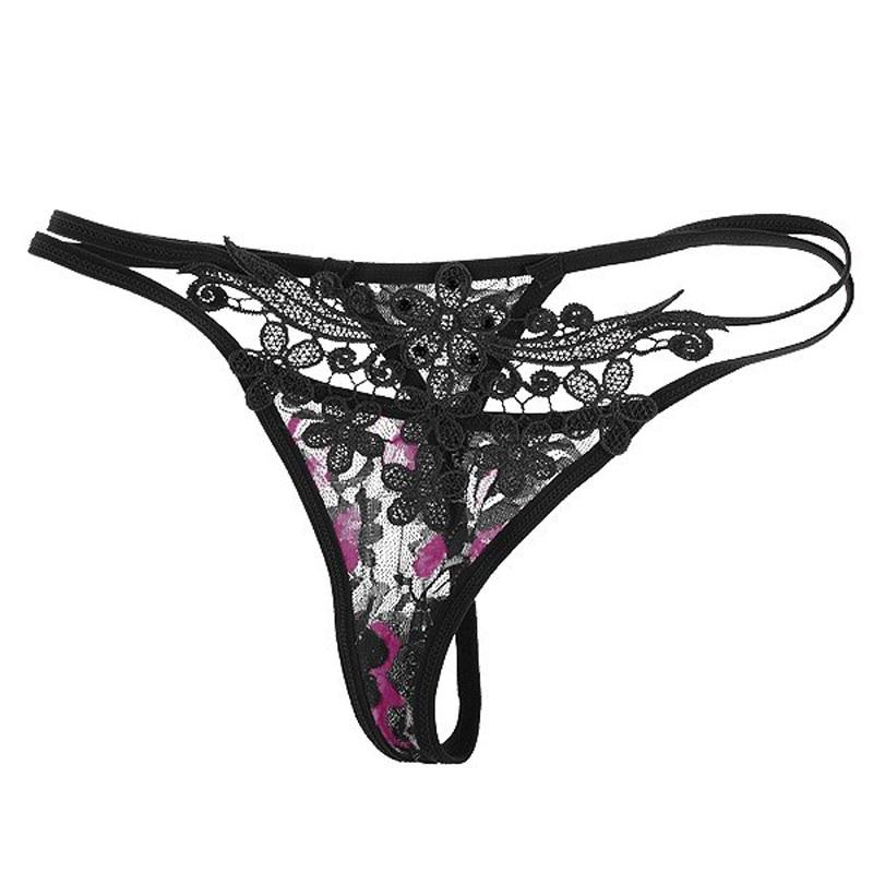 1Pc Fashion Sexy Women Flower Hollow Lace Thongs G String -9356