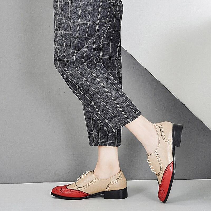 Casual Ins Echtem black Wohnungen Brogues blue Leder Oxford Turnschuhe Red Schuhe Vintage Heißer Damen Für Frauen Frau IZYSnZ7