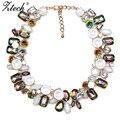 Las mujeres Del Encanto de La Flor de Moda Collar de Cadena de Oro Multicolor de Cristal Collar Maxi Gargantillas Collares y Colgantes Declaración de Joyería