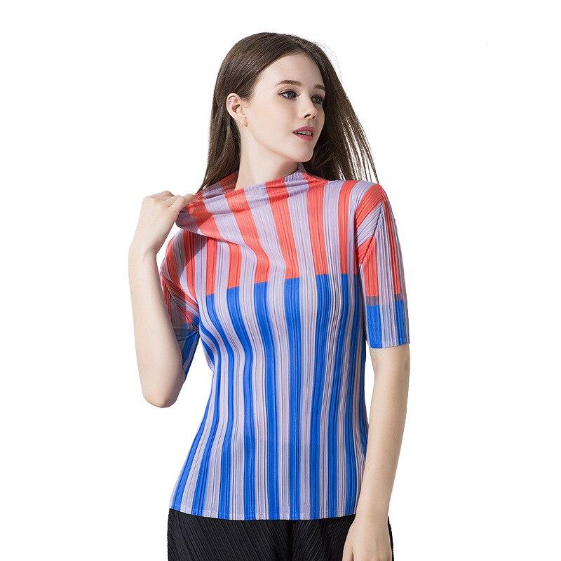 Et T De Rayé Femelle Courtes Tops Station Nouveaux Femmes Européen Portent Plissé Manches Européenne Américain Miyake Multi shirt Rides À AxE0qa