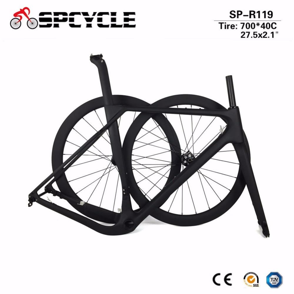 2019 Aero Cyclocross Gravier Vélo Cadres En Carbone Route Carbone Roues, gravier Frein À Disque de Cadres De Vélo De Essieux 49/52/54/56/59 cm