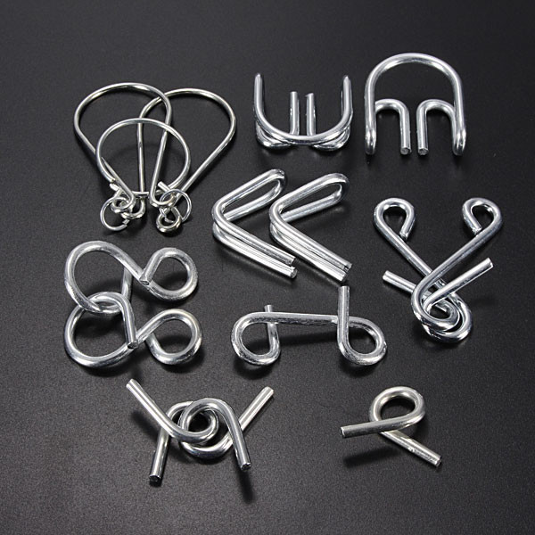 Hot Sale 7 pcs/lot IQ Test Toys Mind Logic Game Brain Teaser Metal Wire  Puzzles Classical Chinese educational Toy for Kid Adult